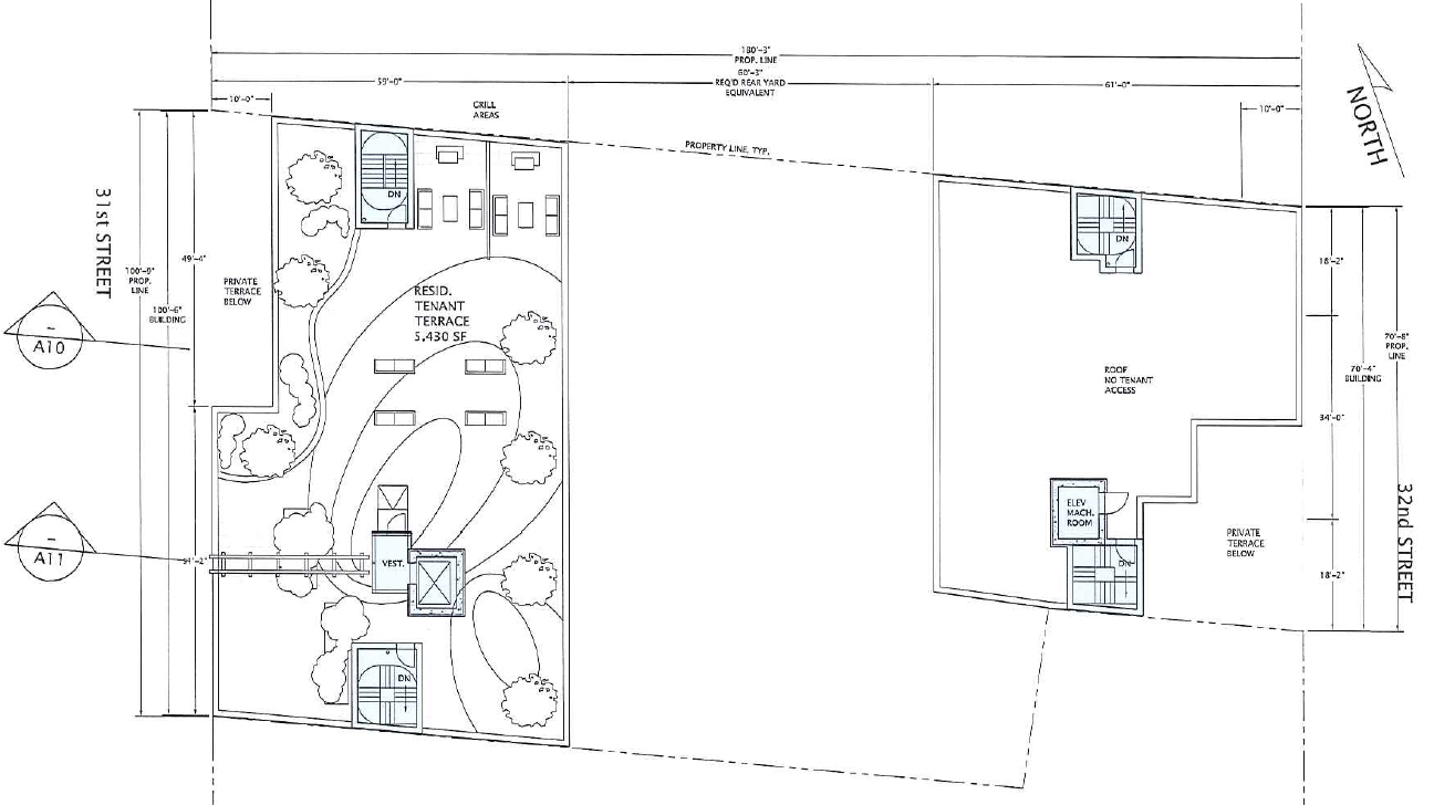Roof plan. Drawing by Gilman Architects, publicly available via the Remedial Investigation Report.
