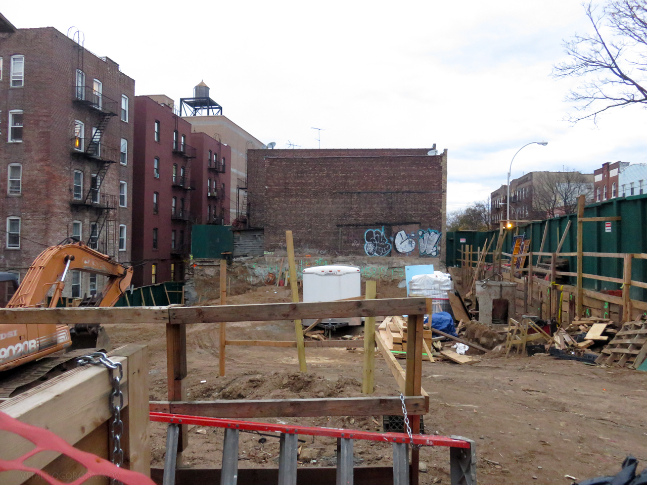 Foundation work, November 2015. Looking northeast from 38th Avenue.