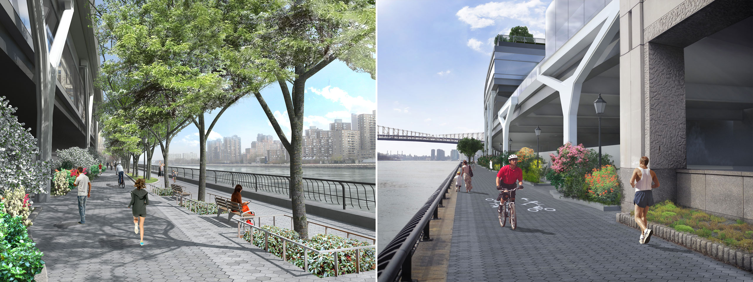 Renderings of the East River Esplanade, facing north and south, following the expansion of Rockefeller University. Credit: Rockefeller University.