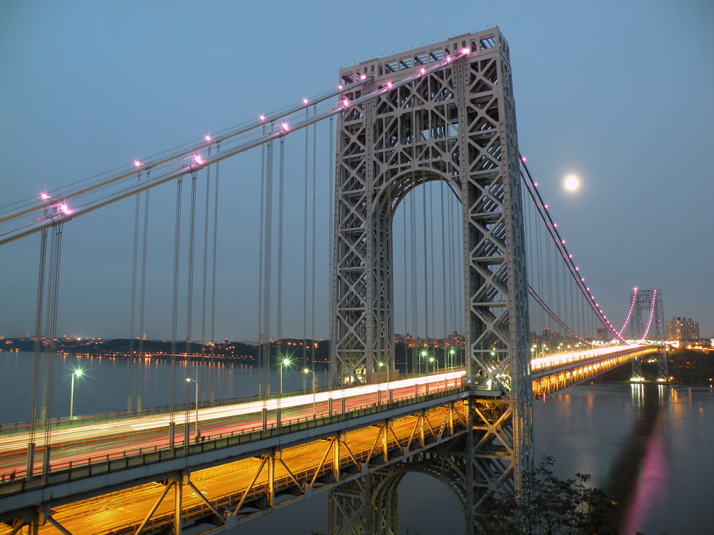The George Washington Bridge is seen from the Fort Lee Historic Park - Fort Lee, NJ - Oct 10, 2011. Photo by Evan Bindelglass.