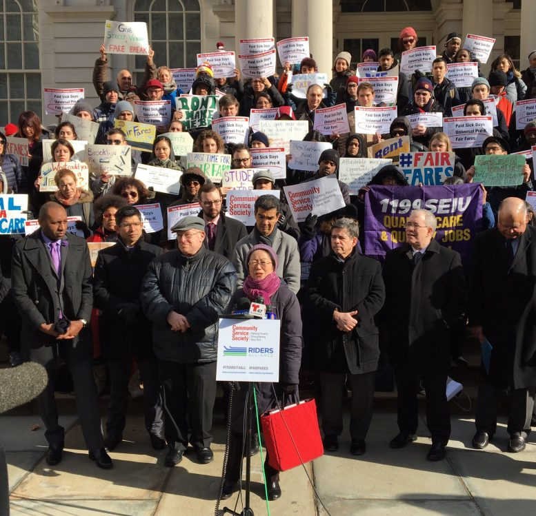 Councilwoman Margaret Chin speaks during a rally for reduced fare MetroCards this morning in front of City Hall. photo via