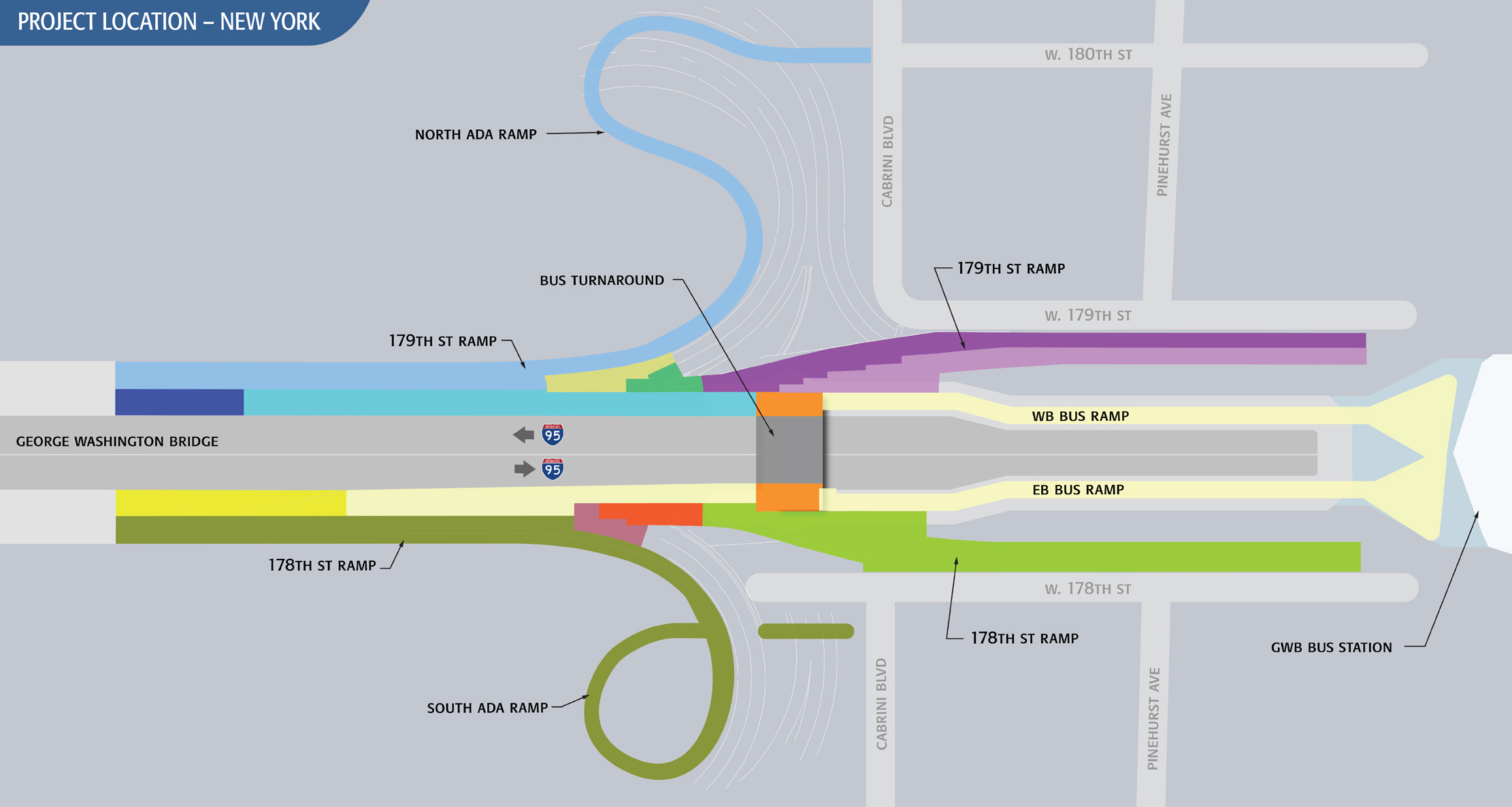 Map showing ramps to be rehabilitated on the New York side of the George Washington Bridge. Credit: Port Authority.