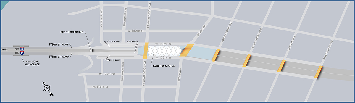Map showing Trans-Manhattan Expressway overpasses to be rehabilitated. Credit: Port Authority.
