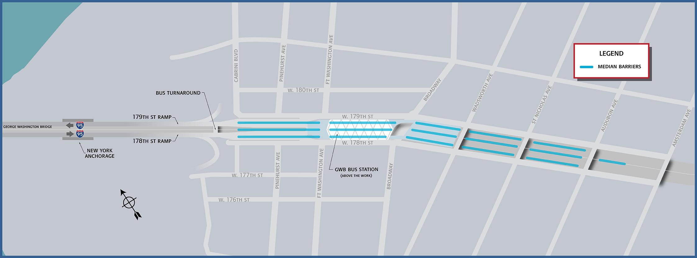 Map of Trans-Manhattan Expressway medians to be replaced. Credit: Port Authority.