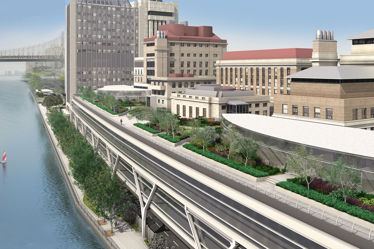 Rendering of Rockefeller University's expanded campus along the East River. Credit: Rockefeller University.