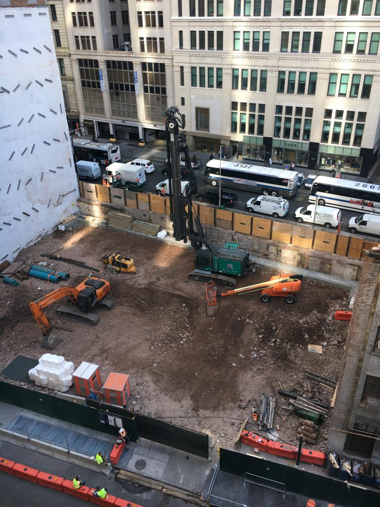 The site of 77 Greenwich Street in early October, with demolition of the old structure now complete and excavation in the early phases.