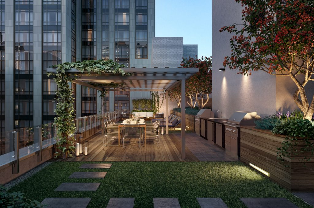 Gramercy Square, Outdoor Landscaped rooftop terrace on top of The Modern, rendering by Woods Bagot
