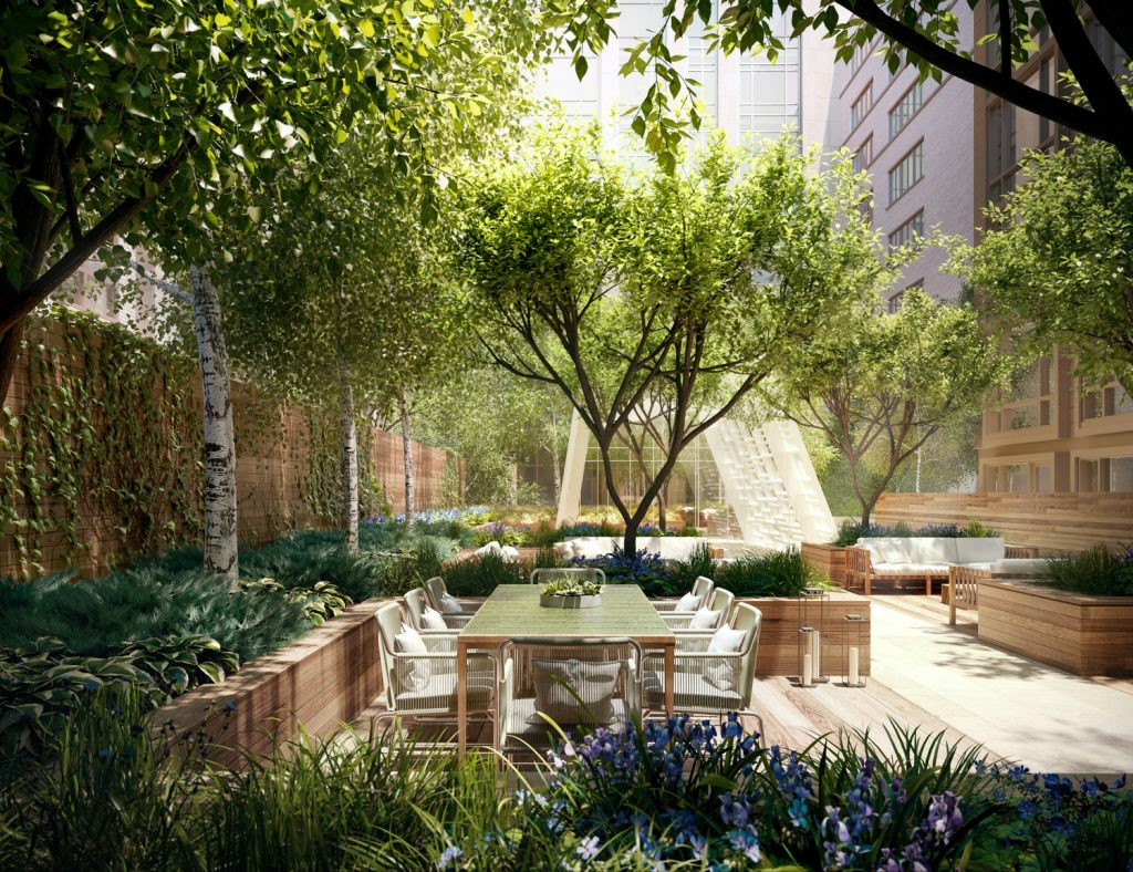 Gramercy Square, Landscaped Gardens surrounding the four buildings, rendering by Woods Bagot
