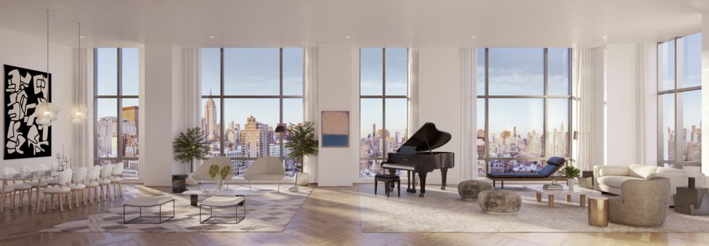 Gramercy Square, Gramercy Square Great Room within The Tower, rendering by Woods Bagot