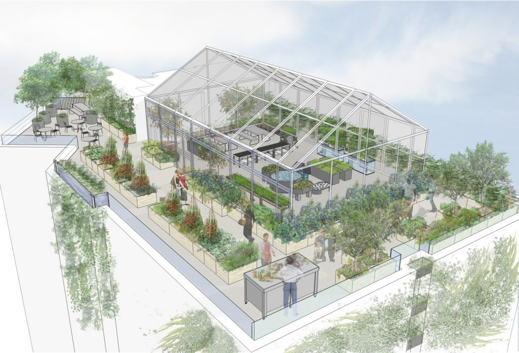 Bedford Green House -- Rendering of Rooftop Greenhouse