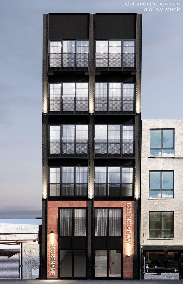 1205 Broadway elevation, rendering by Beam Group