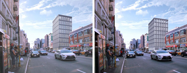 419 Broadway, (Left) Design Proposed October (Right) Accepted Design, rendering by Morris Adjmi