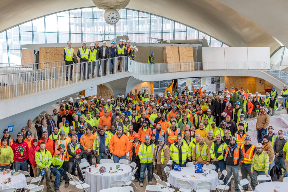 TWA topping Out--TWA Hotel construction workers and partners at the TWA Hotel Topping Out ceremony, image by Max Touhey