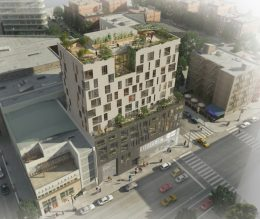 Birdseye view of 280 Ashland Place, rendering by Jonathan Rose Companies
