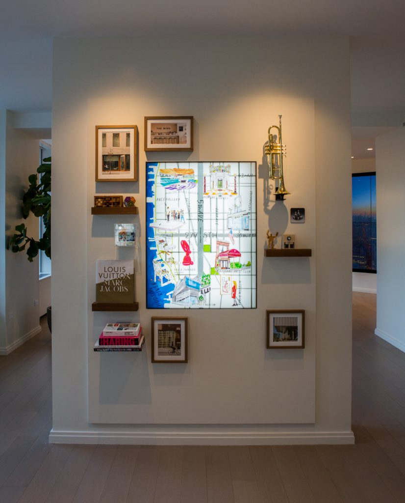 Cultural wall in Sales Gallery, showing nearby locations for 277 5th Avenue, image by Andrew Campbell Nelson