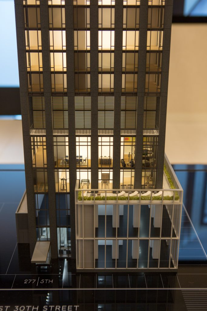 Model closeup showing the amenities lounge on the lower floors 277 5th Avenue, image by Andrew Campbell Nelson