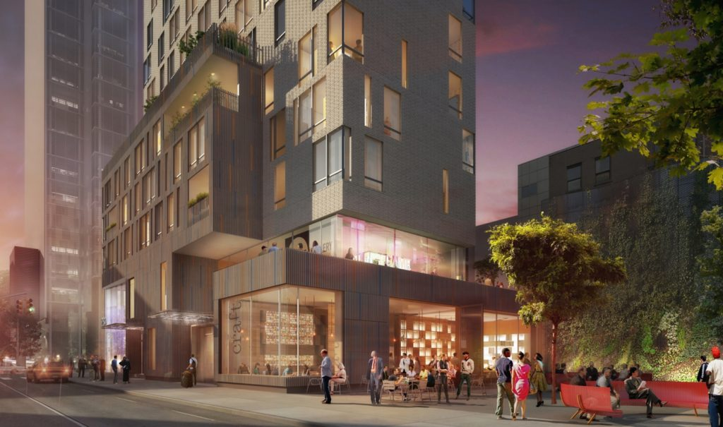 Street view of 280 Ashland Place, rendering by Jonathan Rose Companies