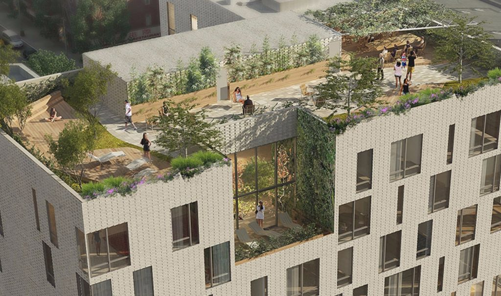 Rooftop Terrace at 280 Ashland Place, rendering by Jonathan Rose Companies