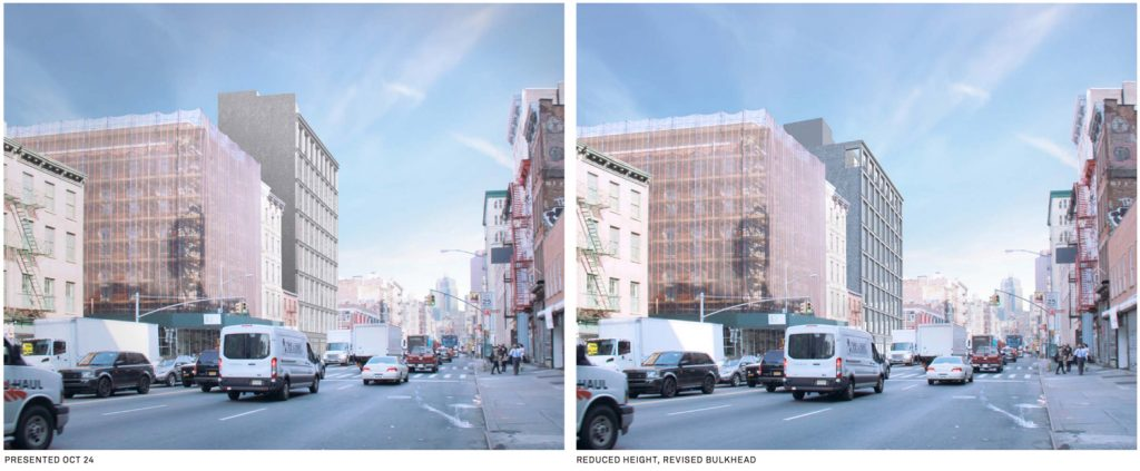 419 Broadway, (Left) Design Proposed October (Right) Accepted Design, renderng by Morris Adjmi