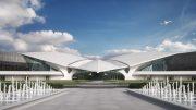 Entry to TWA Hotel rendering, by MCR Development