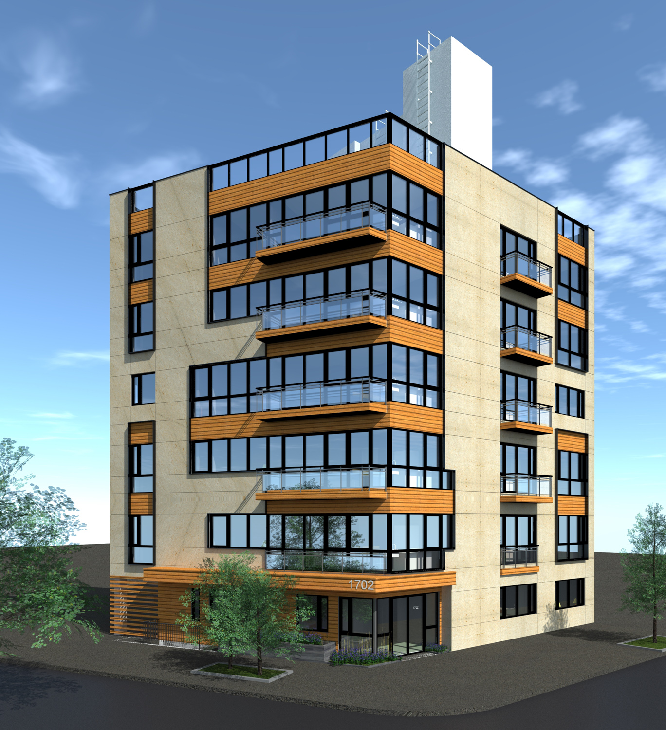 1702 Newkirk Avenue Corner View, rendering by Bizdesigns