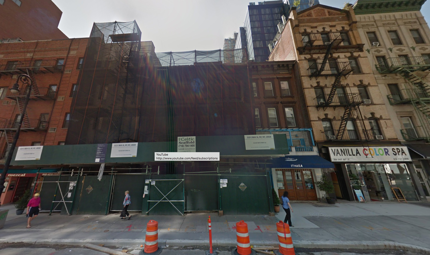 308, 310, 312, and 314 East 86th Street, via Google Maps
