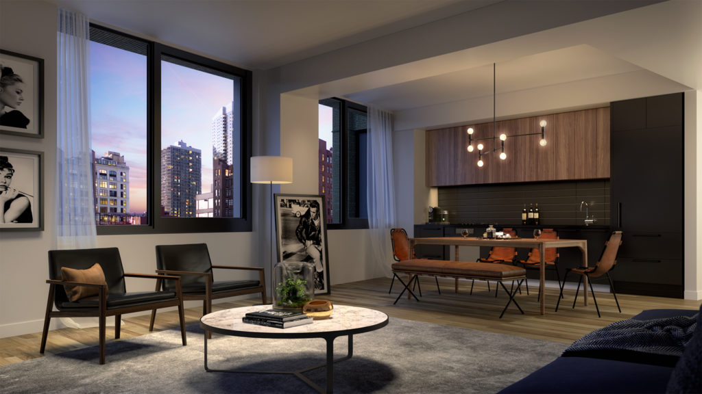 411 West 35th Street Living Room, Rendering by Binyan Studios
