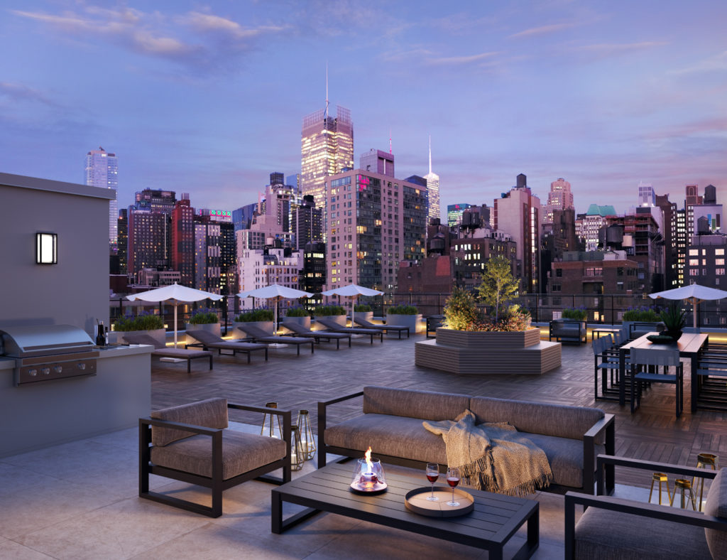 411 West 35th Street rooftop view, Rendering by Binyan Studios