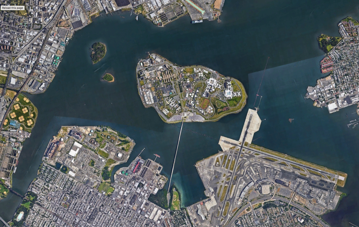 Birdseye view of Rikers Island, via Google Maps