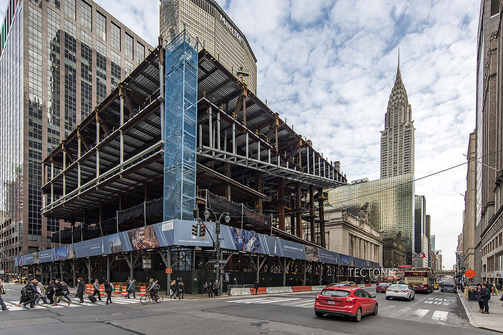 One Vanderbilt Construction Update, from East 42nd Street and Madison Avenue, image by Tectonic