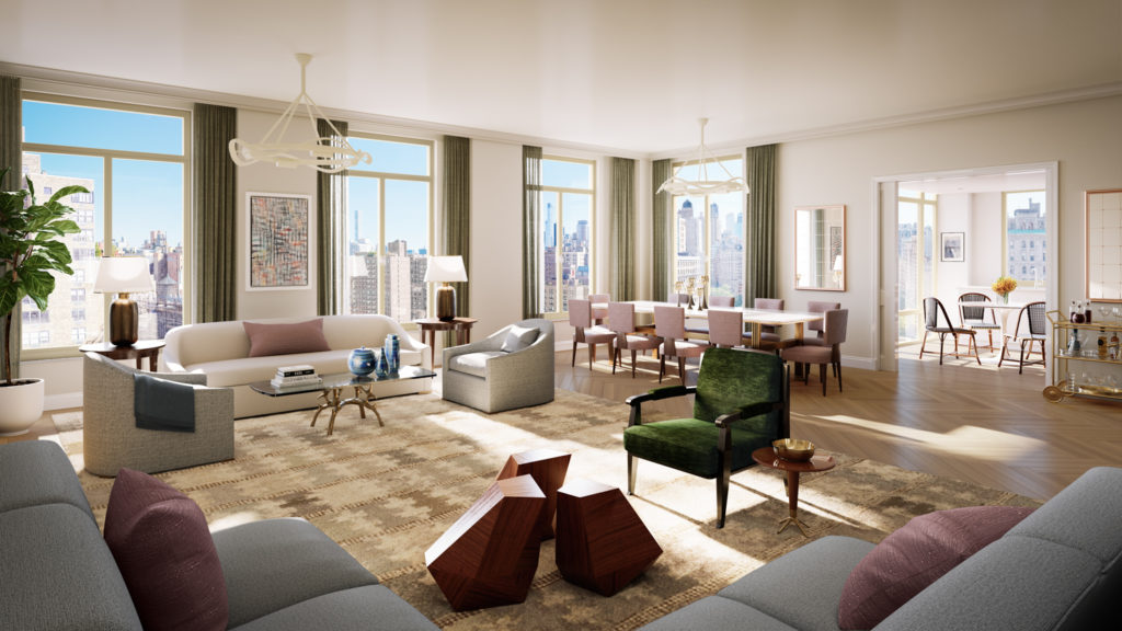 250 West 81st Street Apt 12A Living Room, rendering by Williams New York, design by Robert A.M. Stern Architects