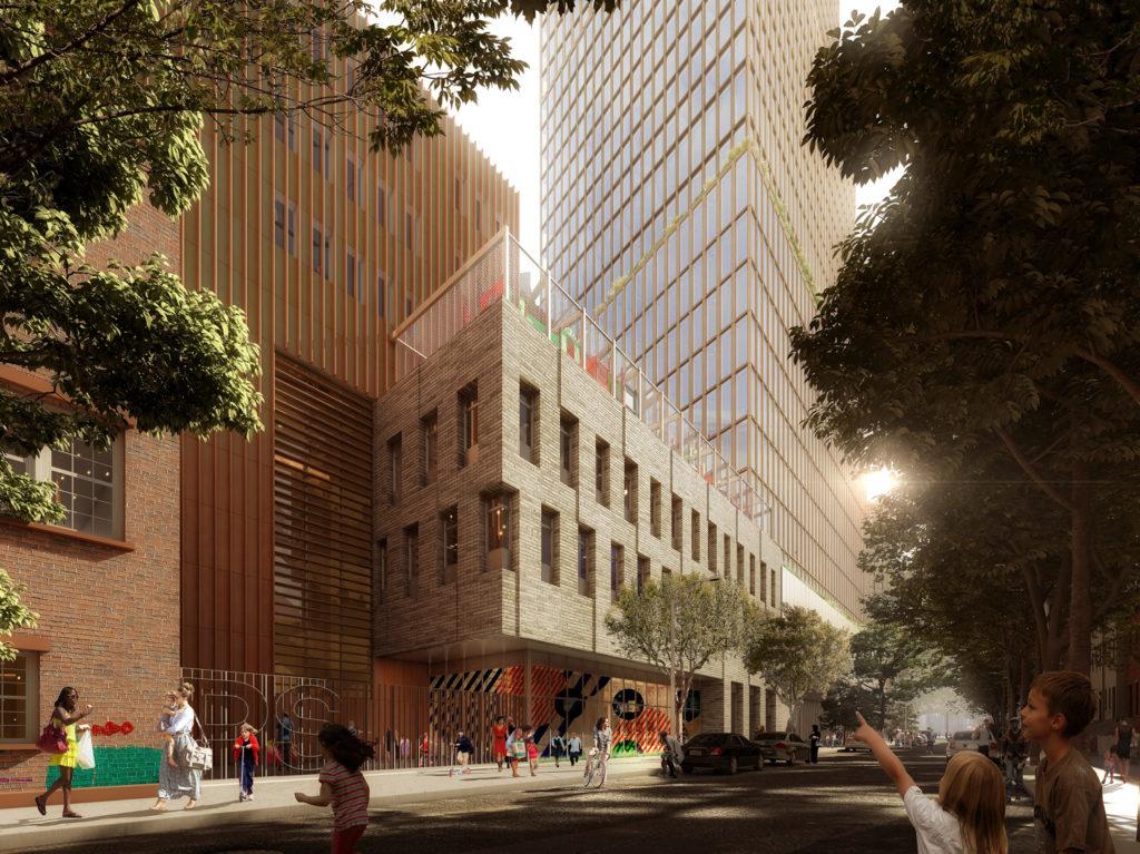 80 Flatbush Avenue closeup of masonry facade, rendering courtesy Alloy Development