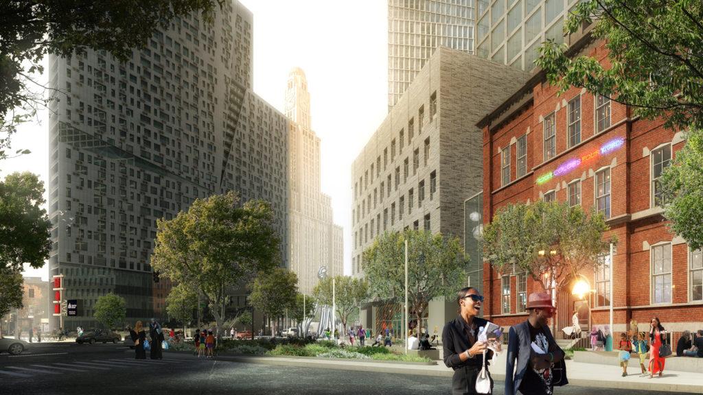 80 Flatbush Avenue groundview, rendering courtesy Alloy Development
