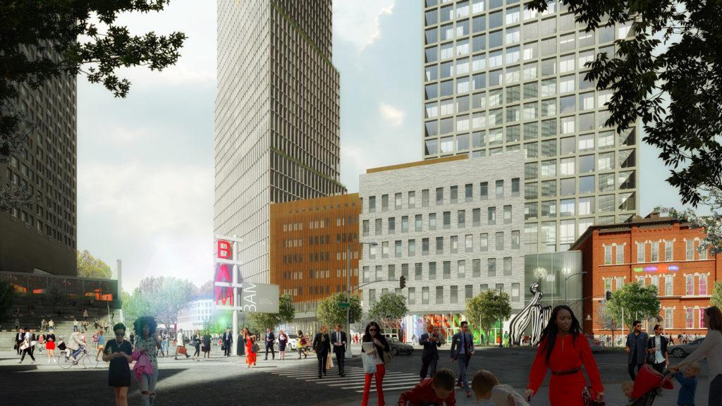80 Flatbush Avenue streetview, rendering courtesy Alloy Development