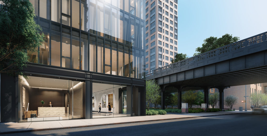 Ground floor view of 515 West 29th Street, rendering by SCDA Architects