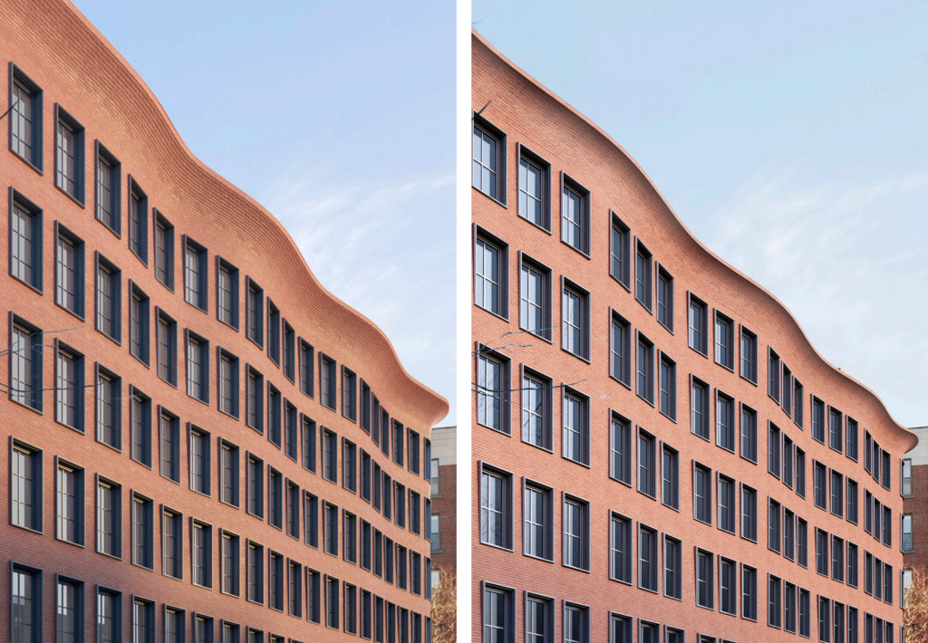 Previous (left) and updated (right) closeup of cornice design for 540 Hudson Street, design by Morris Adjmi Architects