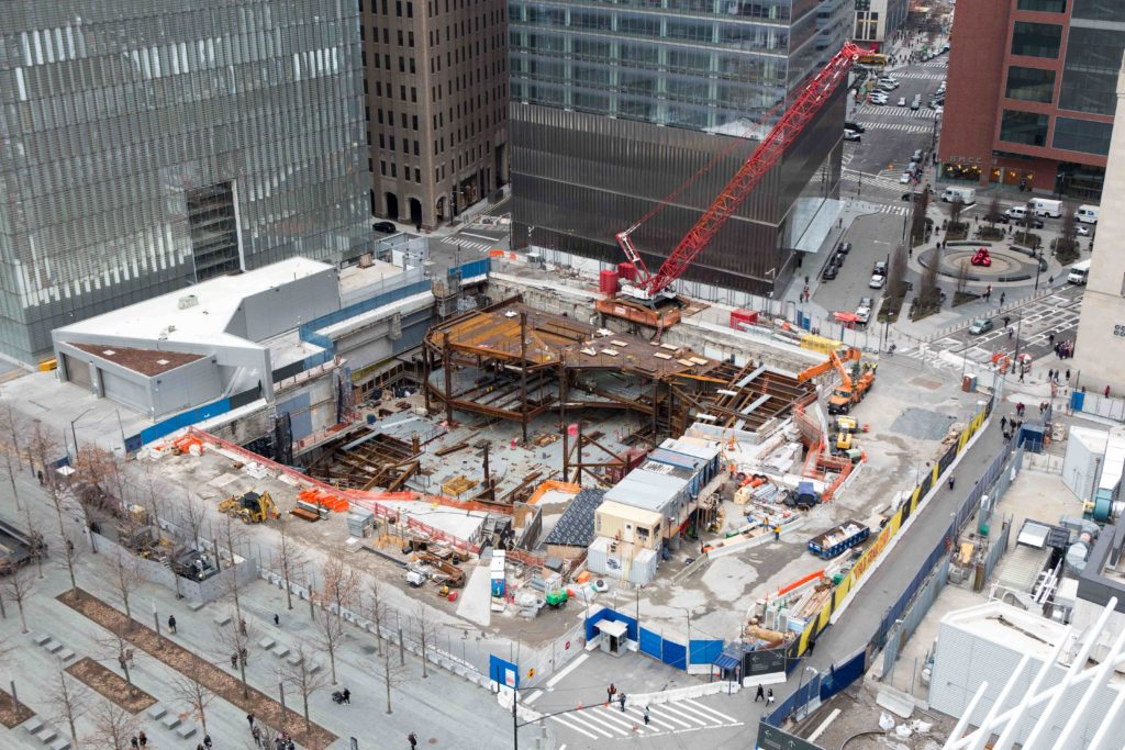 Ronald O. Perelman Performing Arts Center construction site from 3 World Trade Center, image by Andrew Campbell Nelson