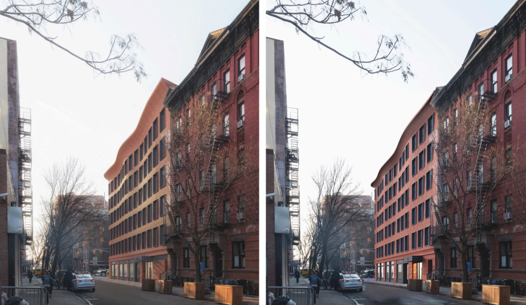 Sideview for previous (left) and updated (right) rendering for 540 Hudson Street, design by Morris Adjmi Architects