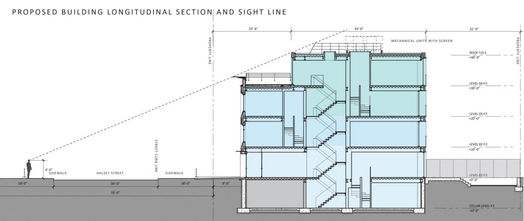 Updated 514 Halsey Street elevation, revealing that pedestrians will not see the rooftop of the fourth floor, rendering by Kane Architecture and Urban Design
