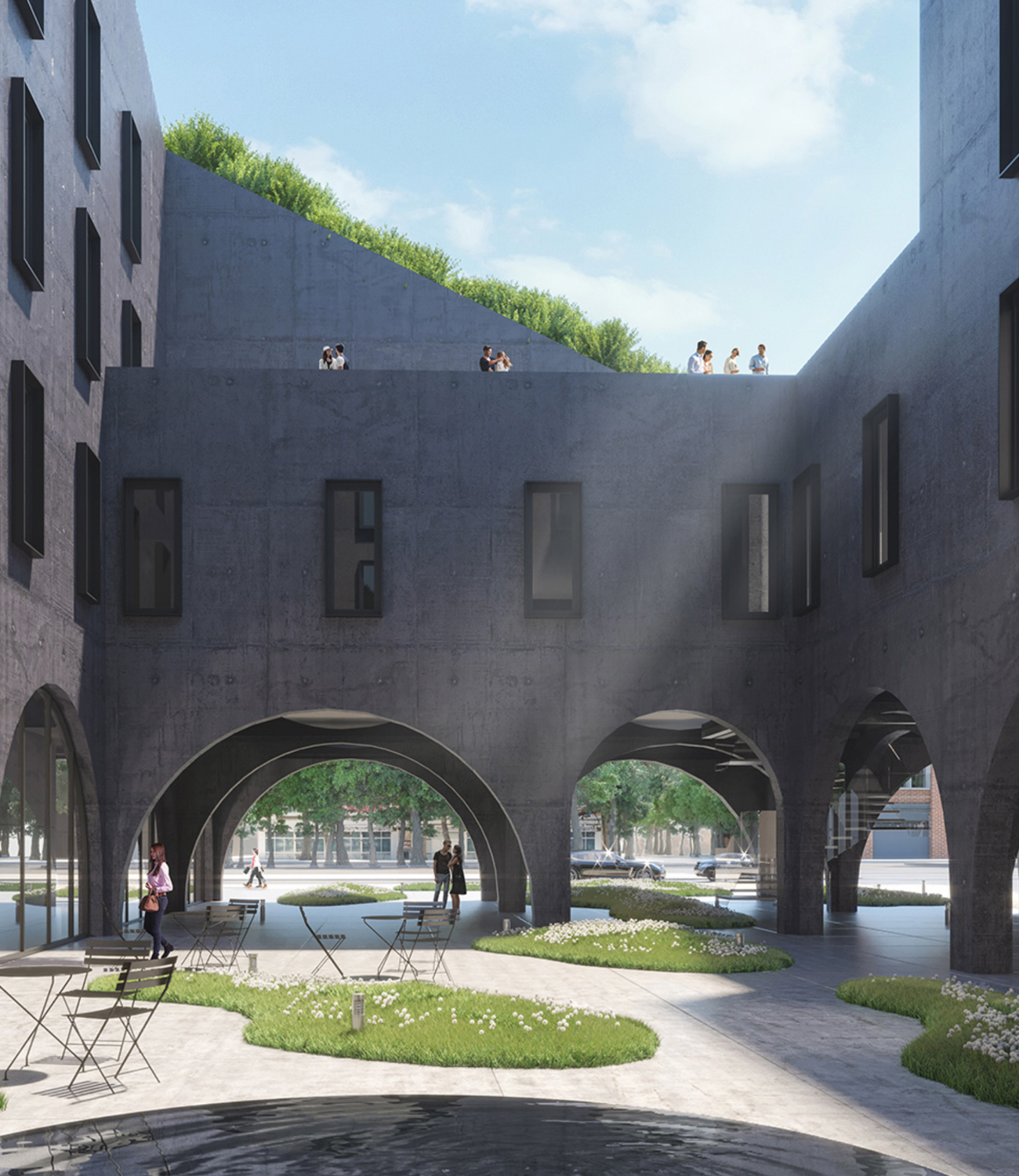 1548 Bedford Avenue courtyard, rendering courtesy ODA Architects
