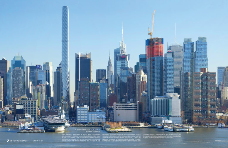 265 West 45th Street from Hudson River, rendering Courtesy RB Systems