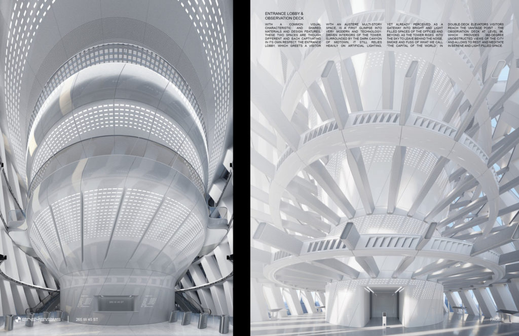 265 West 45th Street lobby (left) and observation deck (right), rendering Courtesy RB Systems