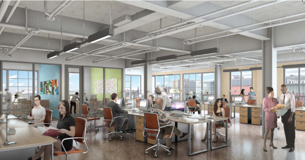 Ironside Newark office space renderings, design by Perkins Eastman