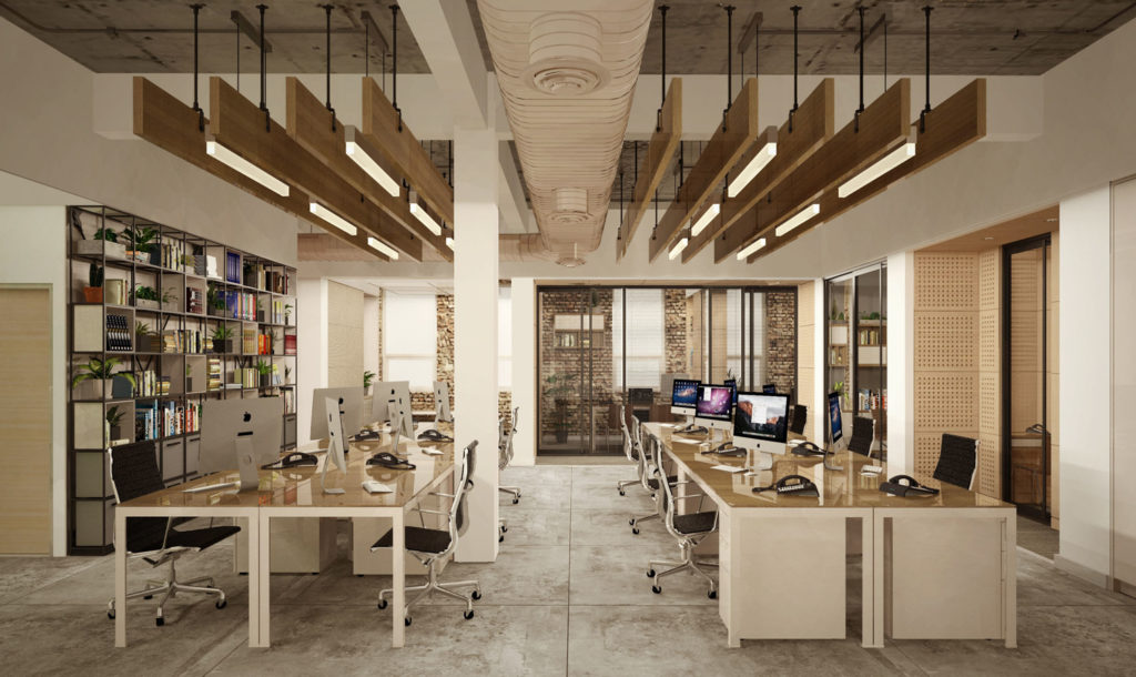 Office space with ceiling lights in 107 North 1st Street, rendering by Melamed Architects