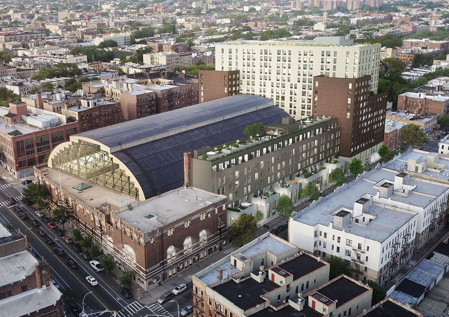 Overhead rendering of plans to redevelop Bedford Union Armory, courtesy BFC Partners