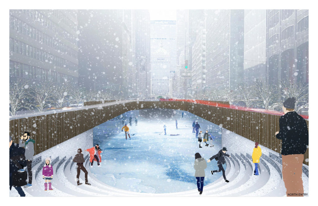 Park River ice skating, by Local Architects