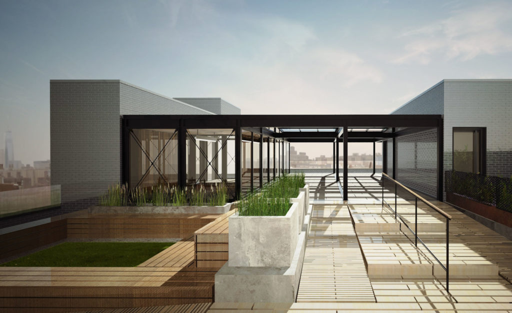 Rooftop terrace at 107 North 1st Street, rendering by Melamed Architects