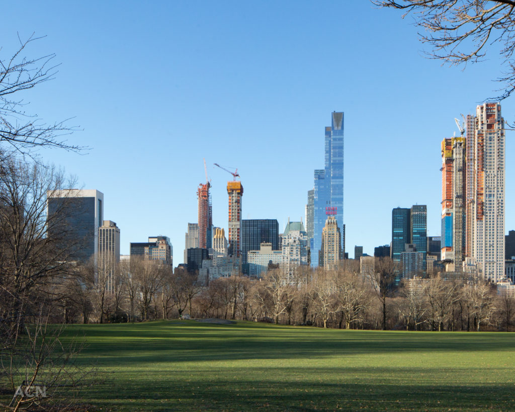 Under construction 53w53 (left) and 111 West 57th Street (right) from across Sheep Meadow, image by Andrew Campbell Nelson