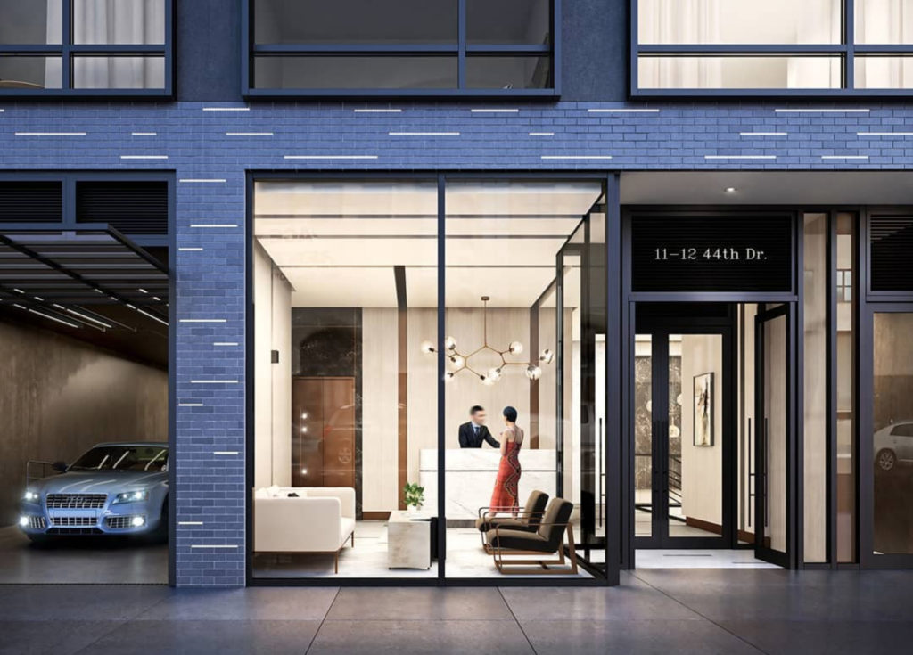 11-12 44th Drive lobby, rendering by Carbn NYC