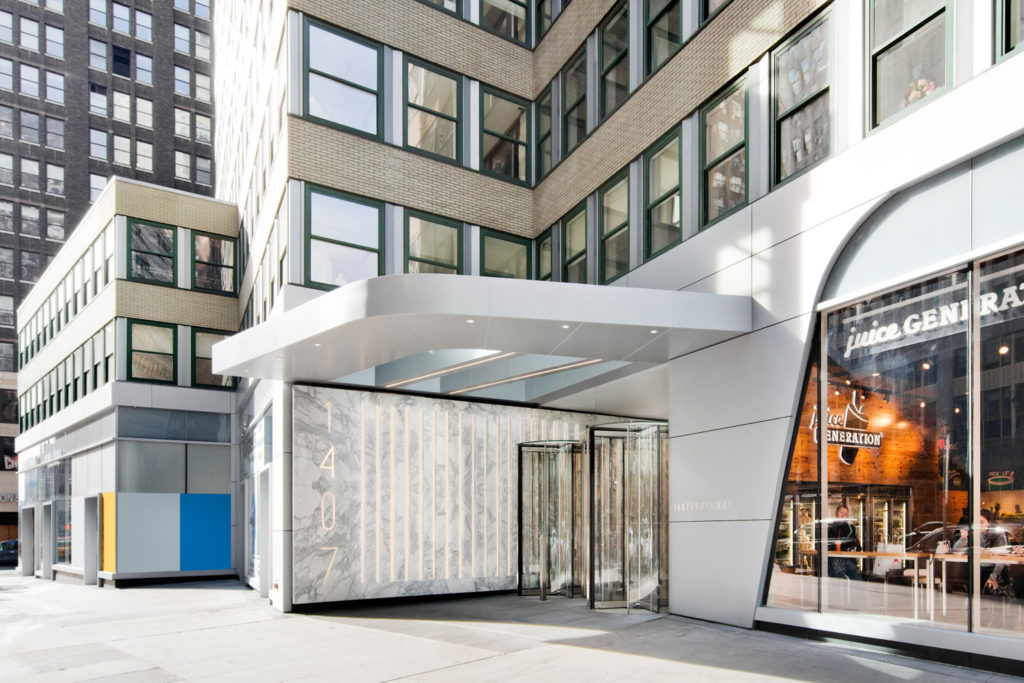 1407 Broadway lobby awning, image courtesy Fogarty Fingers